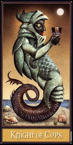 The Knight of Cups from the dark and disturbing Deviant Moon tarot.