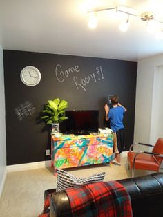 Game Room Idea : chalkboard walls - graffiti dresser / via Julie Loves Home
