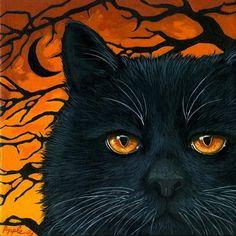 5x7 PRINT OF PAINTING RYTA BLACK WHITE CAT ANGEL FOLK ART SUNSET VINTAGE STYLE