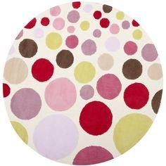 Handmade Children's Bubbles Ivory/ Pink N. Z. Wool Rug (6' Round)   Overstock.com