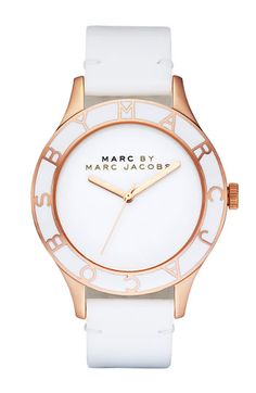 Marc by Marc Jacobs Patent Strap Oversized Watch - Rose Gold/White - $119.90