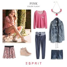 Time for #color! Do you like the #combination of #jeans and shades of #blue with #pink accents?