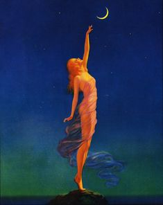 Girl to the moon and back Maxfield Parrish 1870 - 1966 was an American painter in the first half of the century. He is known for his idealized neo-classical imagery Art And Illustration, Illustrations, Maxfield Parrish, You Are My Moon, Inspiration Art, Moon Goddess, Moon Art, Moon Child, Stars And Moon
