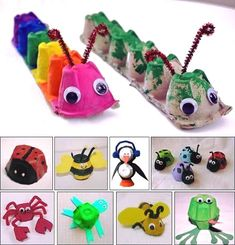 DIY kids crafts egg carton bugs to make Daycare Crafts, Toddler Crafts, Preschool Crafts, Fun Crafts, Children Crafts, Easy Kids Crafts, Arts And Crafts For Kids Toddlers, Animal Crafts For Kids, Stick Crafts