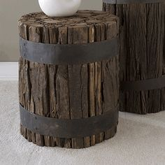 wood ottoman/table - repurposed pier