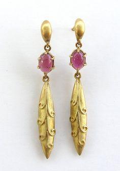 Pink Tourmaline 18k Earrings