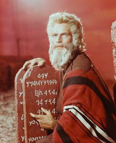 Charlton Heston as Moses in the movie The Ten Commandments