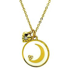 "This contemporary crescent moon is set with crystal stones is the centerpiece of this pretty necklace and hidden on the reverse side is the heartwarming message ""I love you to the moon and back"". A tiny heart charm set with a single crystal stone adds a little more love to the look. Necklace length is 16"" plus extender chain. White epoxy with gold tone plating."