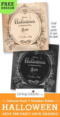Email or text one of these Halloween Party Save the Date free graphics to your guests so they can mark their calendar and plan ahead for Halloween costumes. 7 party dates to choose from in October. Halloween Magic, Halloween Projects, Holidays Halloween, Vintage Halloween, Halloween Crafts, Happy Halloween, Halloween Decorations, Halloween Costumes, Halloween Parties