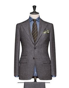 Medium Grey Micro Structure Saxony Super120 280g 100% Wool. Code 4686
