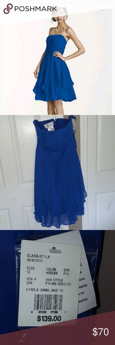 Davids Bridal horizon blue chiffon crinkle dress Davids bridal horizon blue stunning Strapless Chiffon Dress with Layered Skirt. Nwt could also be used for Homecoming or prom David's Bridal Dresses