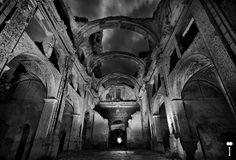 A night shot inside the decayed church of the Spanish abandoned village, Belchite.