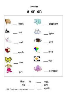 a or an worksheet - Buscar con Google