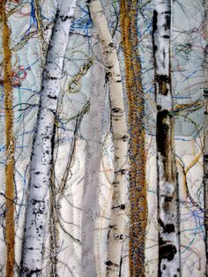 Fiber Art Quilt Woodland Winter Pine Art Quilt by SallyManke