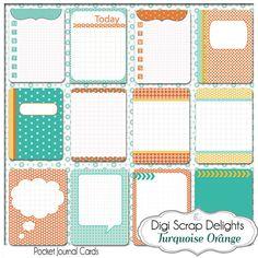 Turquoise Orange 3x4 Journal Cards, Pocket Cards,  Project Life Inspired, Printable PDF & PNG, Digital Scrapbooking, Instant Download $3.00