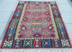 5.8x7.4 FT(177x227 cm)/VINTAGE Handmade Square Turkish Kilim Rug Carpet,Antique Turkish Area Kilim Rug,Large Colorful Wool  Floor Kilim Rugs...