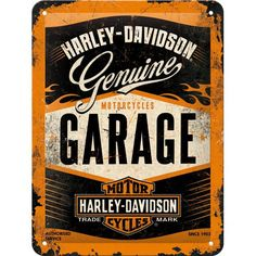 Nostalgic-Art 40361132617 Cartello Harley-Davidson Garage, Acciaio,, 20 x 15 x cm Harley Davidson Logo, Harley Davidson Merchandise, Vintage Harley Davidson, Harley Davidson Motorcycles, Harley Davidson Online Store, Davidson Bike, Motos Retro, Motos Vintage, Vintage Motorcycles