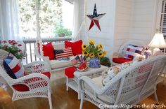 Screened-in Porch Decorated for the 4th of July featured on Between Naps on the Porch