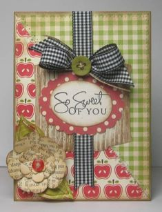 So sweet of you...This card is made with several patterns of coordinating paper from October Afternoon that have been machine stitched and inked. Diecuts from Spellbinders and Quikutz. Punches from EK Success and Marvey. Stamped sentiment, twine and buttons from PTI, misc. ribbon, corrugated cardboard and paint.    Thanks for taking a peek! :)