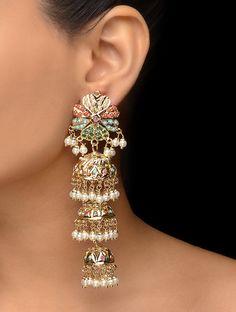 Pakistani Jadau and Aari work Navrattan Jhumka - Paisley Pop - Diego Indian Jewelry Earrings, Indian Jewelry Sets, Jewelry Design Earrings, Hand Jewelry, Trendy Jewelry, Wedding Jewelry, Jewelery, India Jewelry, Pendant Jewelry
