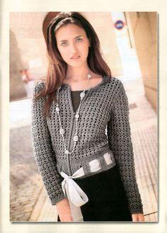 crocheted cardi/blouse with cute ribbon belt trim   via Receitas de Crochet, *instruction page in Russian