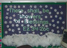 Like this idea but maybe changing snowflakes to raindrops with blessings written on them; Jesus, family, friends, church, Bible, shelter, food, etc
