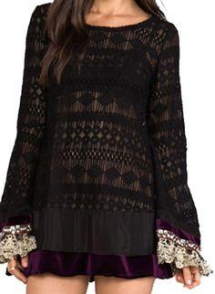 Gypsy Junkies Mimi Lace Dress Top Black  with Bell Sleeves Boho Chic  #GypsyJunkies #Tunic