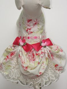 Cream with Hot Pink Roses Victorian Dog by FantasyPupFashions, $48.00