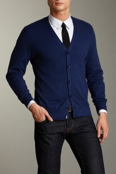 F/W - Blue Cardigan and White Crisp shirt and dark washed jeans