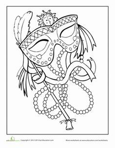 You don& have to be in New Orleans to celebrate Mardi Gras! Use bright colors to make this Mardi Gras mask stand out in a crowd. Mardi Gras Party, Mardi Gras Masks, Coloring Book Pages, Coloring Sheets, Colouring, Mardi Gras Activities, Mask Drawing, Planner, Coloring For Kids