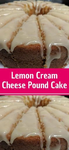 Lemon Cream Cheese Pound Cake is a dense, tight-crumbed, yet light pound cake. The recipe doesn't call for any baking powder or soda. In this case, the leavening comes from air incorporated by beating and Lemon Cream Cheese Pound Köstliche Desserts, Lemon Desserts, Lemon Recipes, Best Dessert Recipes, Delicious Desserts, Healthy Desserts, Cheese Recipes, Yummy Food, Pound Cake Recipes