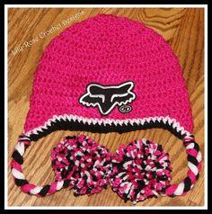 Pink fox racing girls crochet beanie newborn by lilyrosecrochet. , via Etsy.