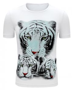 f0eb455942dc Three tigers printed 3D t shirt for men round neck- Black And White Tees