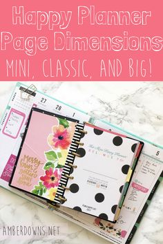 Big, classic, and mini happy planner page dimensions