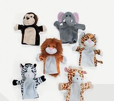 Animal hand puppets for circus/jungle theme party