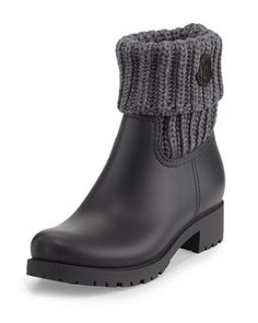 Ginette+Rubberized+Leather+Boot+w/Knit+Collar+by+Moncler+at+Bergdorf+Goodman.