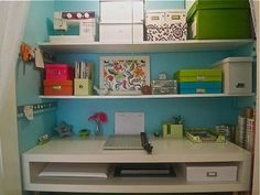 Eclectic Home Office Photos Closet Office Design, Pictures, Remodel, Decor and Ideas Closet Desk, Home Office Closet, Ikea Closet, Office Nook, Bedroom Office, Clever Closet, Creative Closets, Entry Closet, Entry Hall