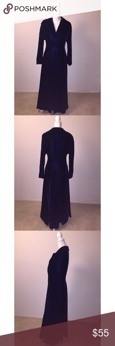Vintage Royal Blue Velvet Long Coat Dress This is an absolutely gorgeous vintage coat/dress. It is made of dark royal blue velvet with satin lining and bejeweled button closure. It is in excellent condition & is estimated to be a size small; it fits my mannequin that is about a size 4-6 very well. If you'd like measurements or have any other questions, just ask! Vintage Dresses Long Sleeve