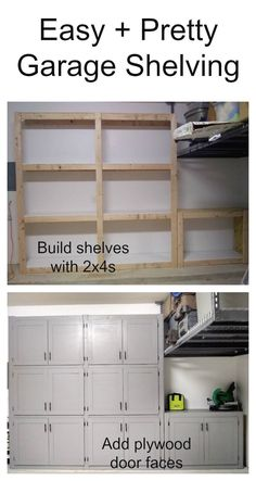 Garage shelves with doors Ana White Diy Garage Shelves, Built In Shelves, Garage Cupboards, Floating Shelves, Cheap Garage Cabinets, Diy Cabinets, Basement Shelving, Basement Ideas, Diy Shelving