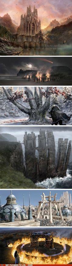 Game of Thrones concept art: Harrenhal, Roccia del Drago ( i roghi di Melisandre), il parco degli dei di Grande Inverno, Pike, il tempio di Baelor, il rogo di Khal Drogo