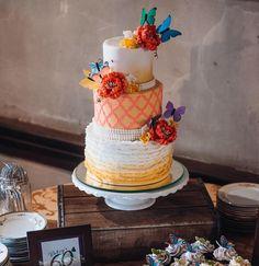 Ombré butterfly cake