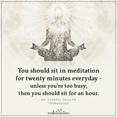 You should sit in meditation for twenty minutes everyday - unless you're too busy; then you should sit for an hour. Meditation Quotes, Chakra Meditation, Yoga Quotes, Mindfulness Meditation, Meditation Benefits, Mindfulness Quotes, Birth Month Symbols, Positive Affirmations, Positive Quotes