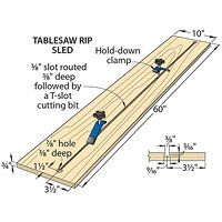 Table saw rip sled for jointing. Used Woodworking Tools, Woodworking Clamps, Easy Woodworking Projects, Router Projects, Woodworking Techniques, Wood Projects, Table Saw Jigs, Diy Table Saw, A Table