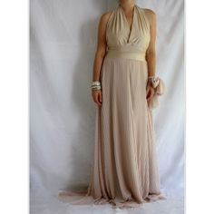 Bridesmaid Sheer Jersey Maxi Dress in Gold ($98) ❤ liked on Polyvore featuring dresses, gowns, brown maxi skirt, bohemian maxi skirts, bridesmaid dresses, bridesmaid gown and boho maxi skirt