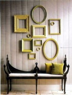 have always loved picture frames used as an art wall! great idea to spray paint them a pop color!