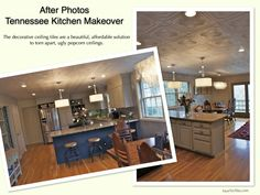 After Photos - Tennessee Kitchen Makeover using Decorative Styrofoam Ceiling Tiles Over an UGLY Popcorn Ceiling