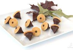 Vanilla wafer and hershey kiss acorn snacks