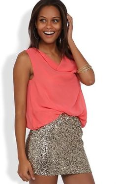 Deb Shops Cowl Neck Blouson Dress with Sequin Skirt and Open Back $32.17
