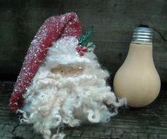 Santa Lightbulb - Cutest bulb ornament I have seen yet! - Crafting For Holidays Santa Crafts, Christmas Ornament Crafts, Summer Crafts, Christmas Projects, Holiday Crafts, Christmas Holidays, Christmas Decorations, Santa Ornaments, Christmas Things
