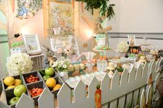 Garden dessert table from a Peter Rabbit Garden Birthday Party on Kara's Party Ideas | KarasPartyIdeas.com (16)